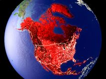 North America on Earth at night. North America from space on Earth at night. Very fine detail of the plastic planet surface with bright city lights. 3D royalty free stock images
