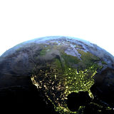 North America on Earth at night - visible ocean floor Royalty Free Stock Image