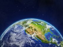 North America on Earth. North America on planet planet Earth in space. Extremely detailed planet surface and clouds. 3D illustration. Elements of this image royalty free stock image