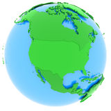 North America on Earth. Political map of North America with countries in different shades of green, isolated on white background Royalty Free Stock Image