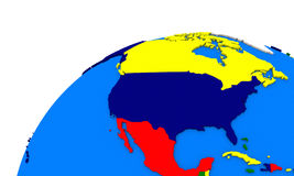 North America on Earth political map Stock Photos