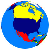North America on Earth political map Royalty Free Stock Photos