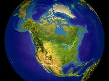 North America on Earth. North America from space on Earth with country borders. Very fine detail of the plastic planet surface and blue oceans. 3D illustration royalty free stock images