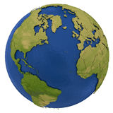 North America and european continent on Earth Stock Image