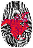 North America-fingerprint. Fingerprint with the contour of  North America Royalty Free Stock Photos