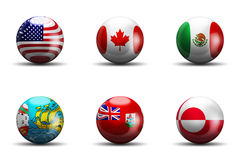 North America Flags Stock Photo