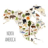North America flora and fauna map, flat elements. Animals, birds Stock Photography