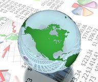 North america globe on business report Royalty Free Stock Photos