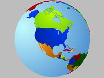 North America globe map. With the country in different colors Stock Images