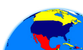 North America on globe political map Royalty Free Stock Photo