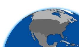 North America on globe political map Stock Image