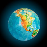 North America on the globe processed triangulation Royalty Free Stock Image