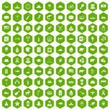 100 North America icons hexagon green. 100 North America icons set in green hexagon isolated vector illustration Royalty Free Stock Image