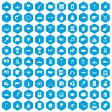 100 North America icons set blue. 100 North America icons set in blue hexagon isolated vector illustration Royalty Free Stock Photos