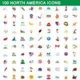 100 north america icons set, cartoon style. 100 north america icons set in cartoon style for any design illustration stock illustration