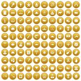100 North America icons set gold. 100 North America icons set in gold circle isolated on white vector illustration royalty free illustration