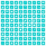 100 North America icons set grunge blue Royalty Free Stock Image