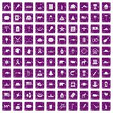 100 North America icons set grunge purple. 100 North America icons set in grunge style purple color isolated on white background vector illustration Stock Photo