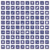 100 North America icons set grunge sapphire. 100 North America icons set in grunge style sapphire color isolated on white background vector illustration Royalty Free Stock Photos