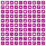 100 North America icons set grunge pink. 100 North America icons set in grunge style pink color isolated on white background vector illustration Stock Image