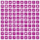 100 North America icons set grunge pink. 100 North America icons set in grunge style pink color isolated on white background vector illustration Stock Illustration