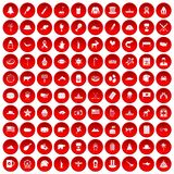 100 North America icons set red. 100 North America icons set in red circle isolated on white vector illustration Royalty Free Stock Image