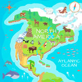 North America Isometric Map with Flora and Fauna. Cartography concept with nature. Geographical map with local fauna. North America continent with mammals and Stock Photo