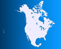 North America map. Including US, Mexico and Canada Stock Images