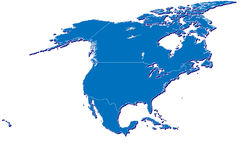 North America map in 3D. A detailed map of North America with 3D effect and country outlines, large enough for all general print requirements Stock Image