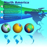 North America map on blue background vector. North America map with shadow on blue background with world globes vector Stock Photo