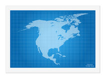 North America map on blueprint Stock Photos