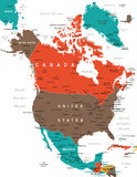 North America Map - Vector Illustration Stock Photo