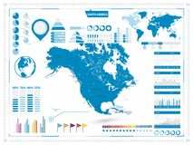 North America Map and infograpchic elements Royalty Free Stock Image