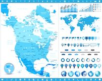 North America Map and infographic elements. Detailed vector illustration of map royalty free illustration