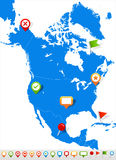 North America map and navigation icons - Illustration. Blue Label. Stock Photography