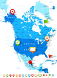 North America - map and navigation icons - illustration. Royalty Free Stock Photo