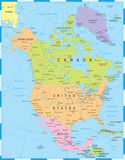 North America Map - Vector Illustration Royalty Free Stock Photos