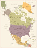 North America Map - Vintage Vector Illustration Royalty Free Stock Photography