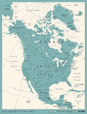 North America Map - Vintage Vector Illustration Royalty Free Stock Images