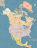 North America Map - Vintage Vector Illustration Stock Photography