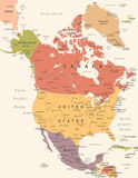 North America Map - Vintage Vector Illustration Royalty Free Stock Photos