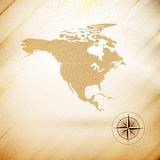North america map, wooden design background, Royalty Free Stock Photos