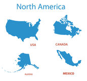 North america - maps of territories - vector Stock Photo