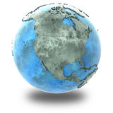 North America on marble planet Earth Stock Images