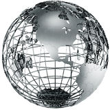 North America in metal. 3d rendering of a metal globe showing North america Stock Image