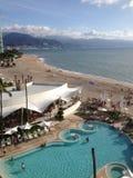 North America, Mexico, Puerto Vallarta, Exotic Food. Puerto Vallarta Beach and Palm stock photography