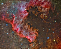 North America Nebula. Imaged with a telescope and a scientific CCD camera stock photo