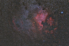 North America Nebula. Imaged with a telescope and a scientific CCD camera stock image