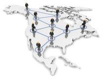 North America Network. A 3d image of business team connected with network Stock Photo