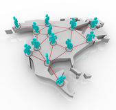 North America - Network of People. A map of North America with a network of people standing atop it Stock Photos